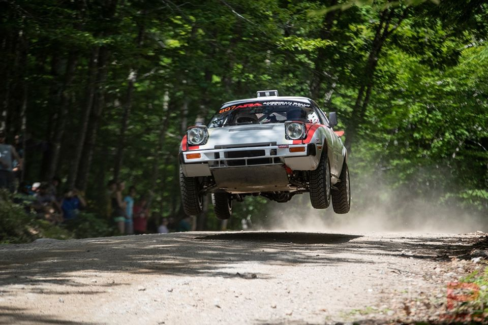 Mal Swann Rally Team from New Brunswick, Canada jumping at New England Forest Rally in 2019