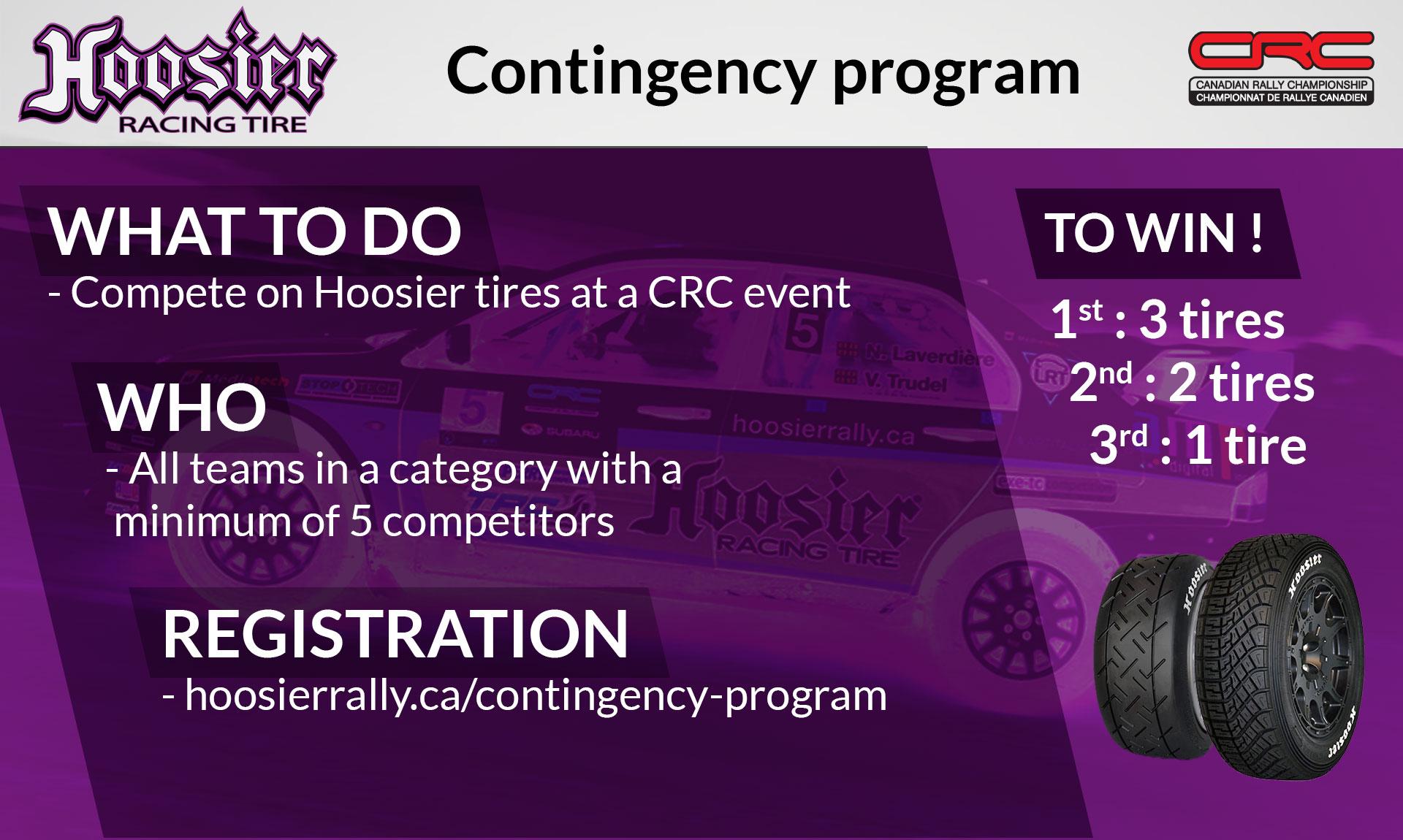 Hoosier Rally Tires Contingency Program 2020