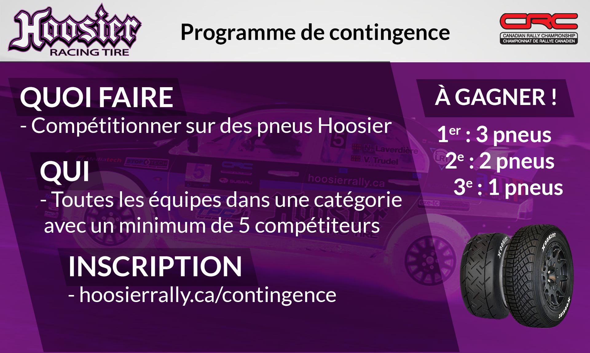 Programme de contingence pneus de rallye Hoosier 2020